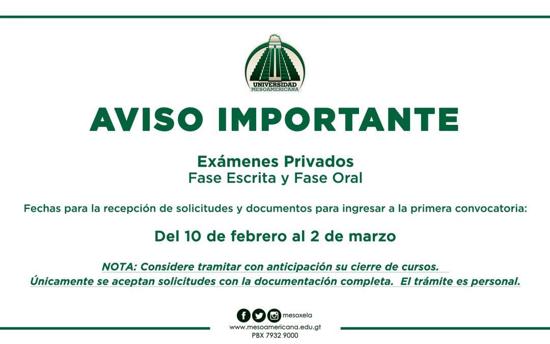 AVISO IMPORTANTE SOBRE RECEPCIÓN DE PAPELERÍA PARA EXÁMENES PRIVADOS, FASE ESCRITA y FASE ORAL