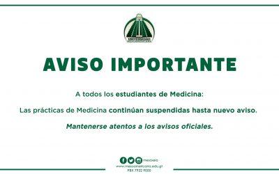 AVISO IMPORTANTE PARA ESTUDIANTES DE MEDICINA