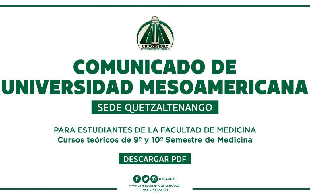 COMUNICADO A ESTUDIANTES DE LA FACULTAD DE MEDICINA