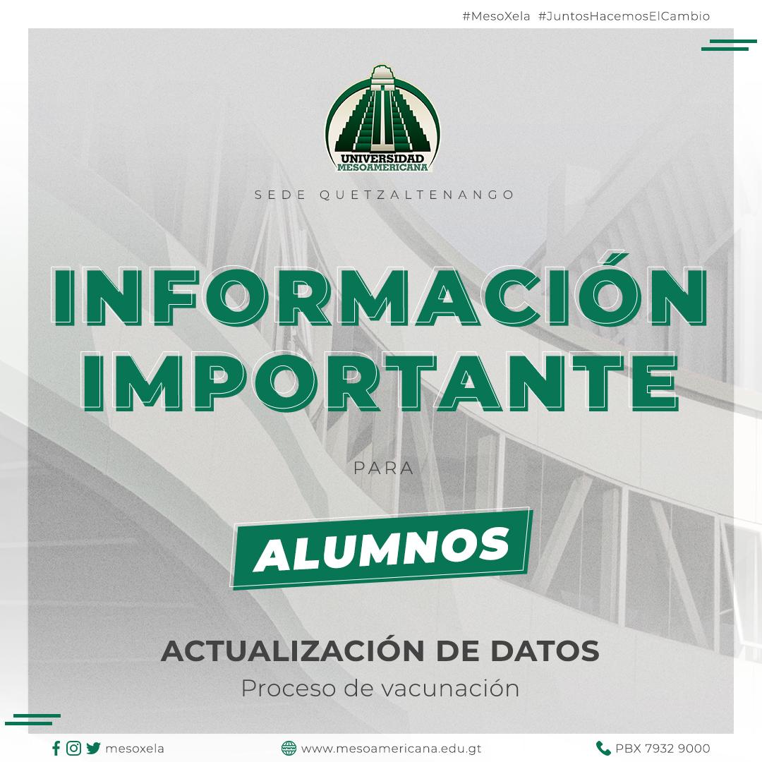 INFORMACIÓN IMPORTANTE PARA ALUMNOS SOBRE PROCESO DE VACUNACIÓN