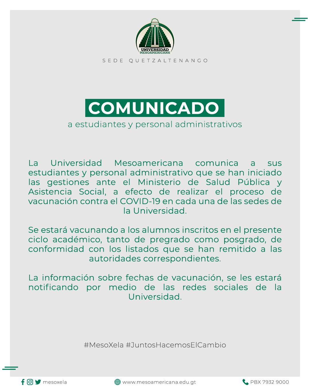 Comunicado de Vacunación